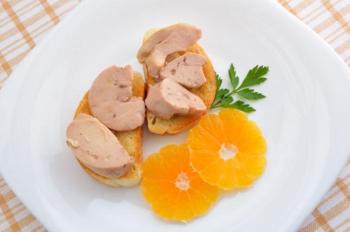 печень трески с мандарином