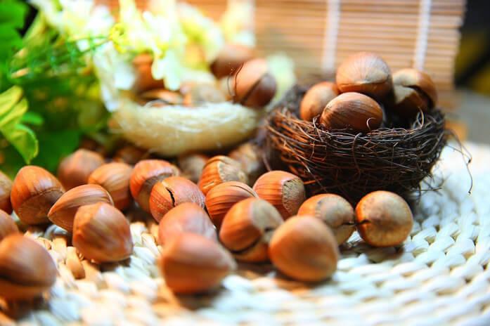 орехи фундук в гнездах